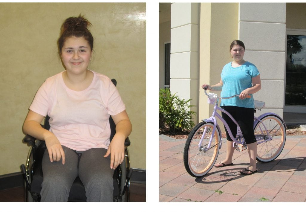 Gracie arrived in a wheelchair. A few months later, she could run and ride a bike!